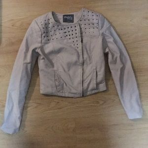 Grayish pleather, studded jacket
